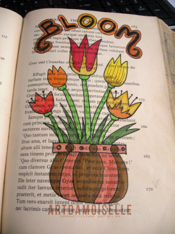 "A pot of tulips and the word ""bloom"", doodled over a page of Latin verse."