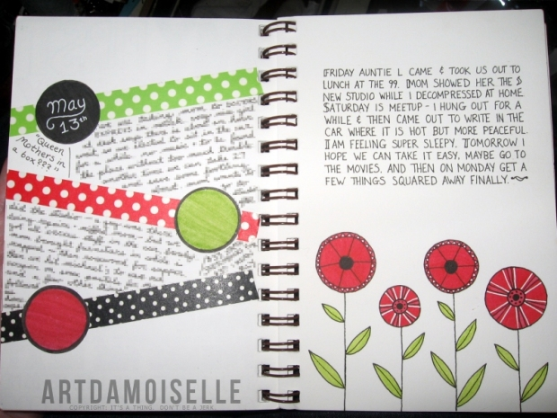 An open journal with pages decorated in red, black, and lime green. The left page has slanted horizontal sections; the right is decorated with stylized poppies.