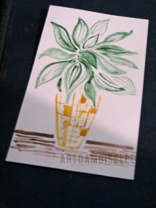 Index card, watercolor.