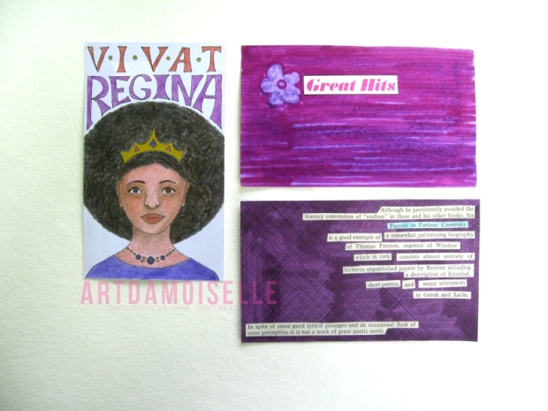 Three index-card artworks in various shades of purple.