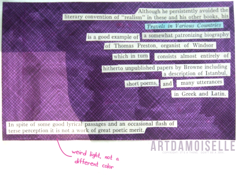 Book text arranged on a cross-hatched purple background to form an imaginary book review.