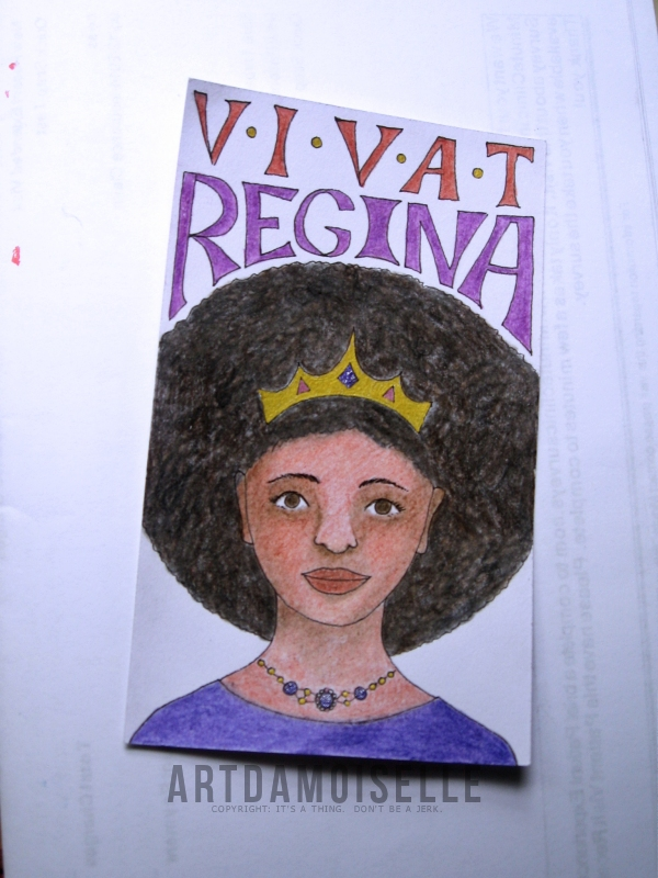 "Drawing of a crowned woman with brown skin and puffy hair, captioned ""Vivat Regina"" (long live the queen)."