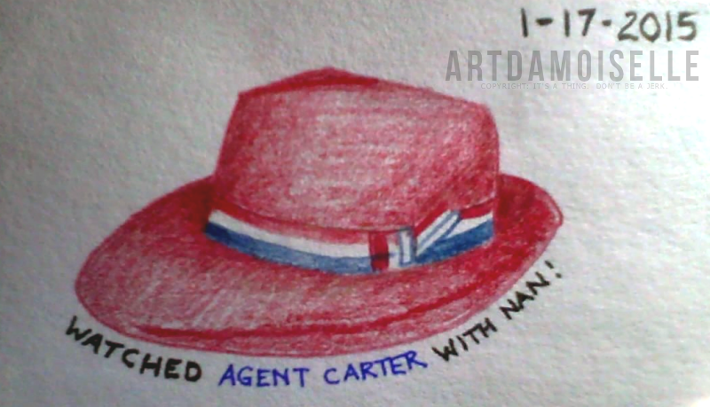 Index card with colored pencil and felt pen.