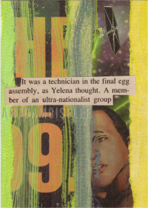 A collaged card showing a spacecraft, colored stripes, and a snippet of text from a sci-fi magazine.